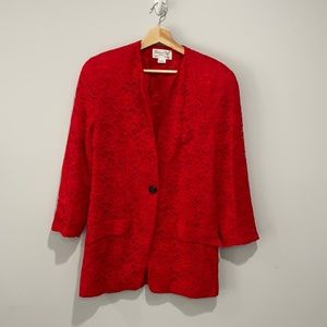 Christian Dior Lace one button blazer jacket red